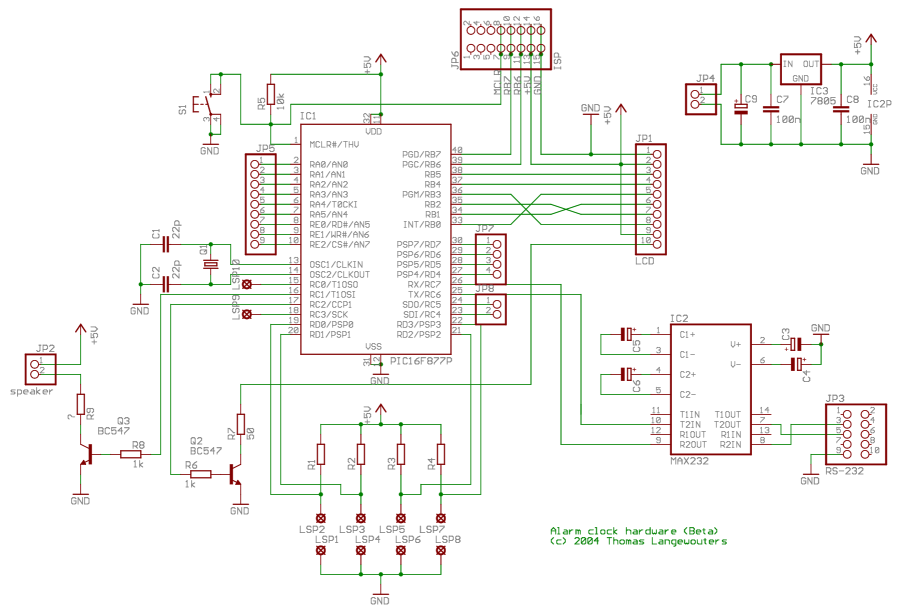 alarm clock with pic (thomas\u0027 webpages)view schematic in real size
